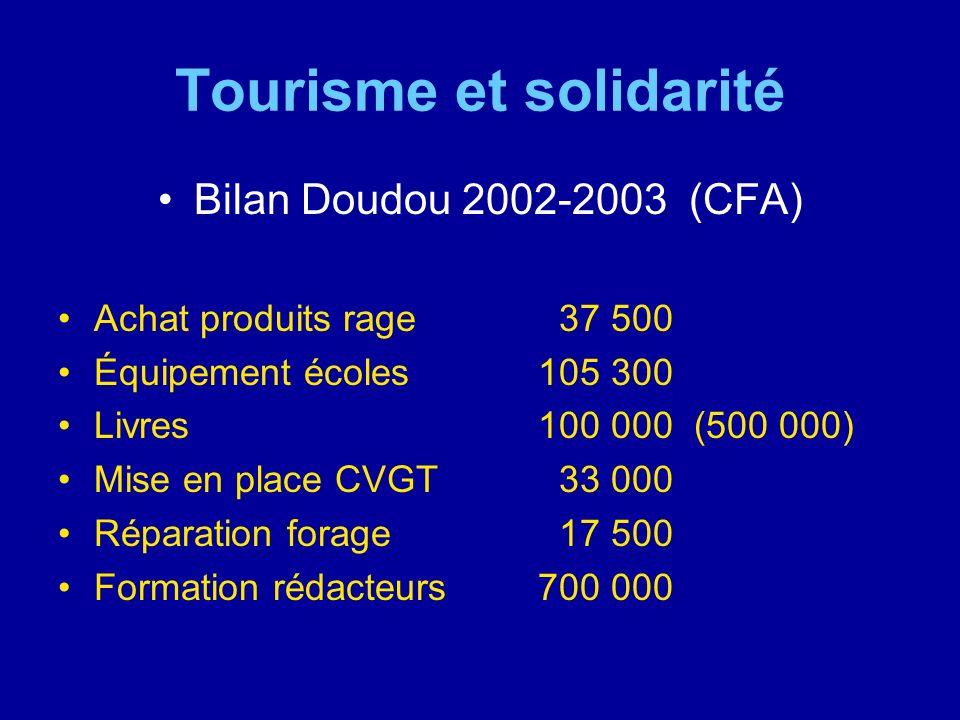 Tourisme et solidarité Bilan Doudou 2002-2003 (CFA) Achat produits rage 37 500 Équipement écoles105 300 Livres100 000 (500 000) Mise en place CVGT 33
