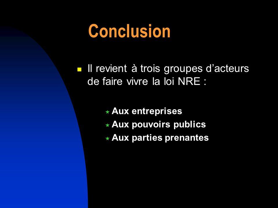Conclusion Il revient à trois groupes dacteurs de faire vivre la loi NRE : Aux entreprises Aux pouvoirs publics Aux parties prenantes