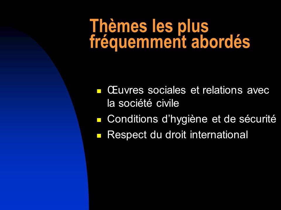Thèmes les plus fréquemment abordés Œuvres sociales et relations avec la société civile Conditions dhygiène et de sécurité Respect du droit international