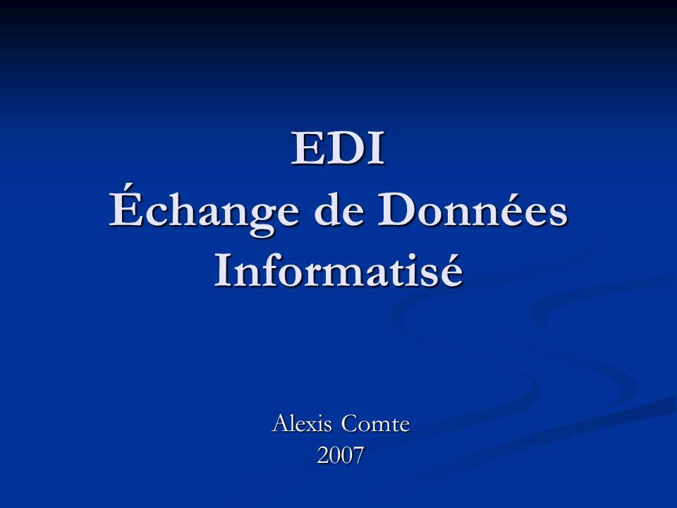 Plan Introduction Introduction EDI « Conventionnel » EDI « Conventionnel » ebXML ebXML Web Services Web Services Conclusion Conclusion