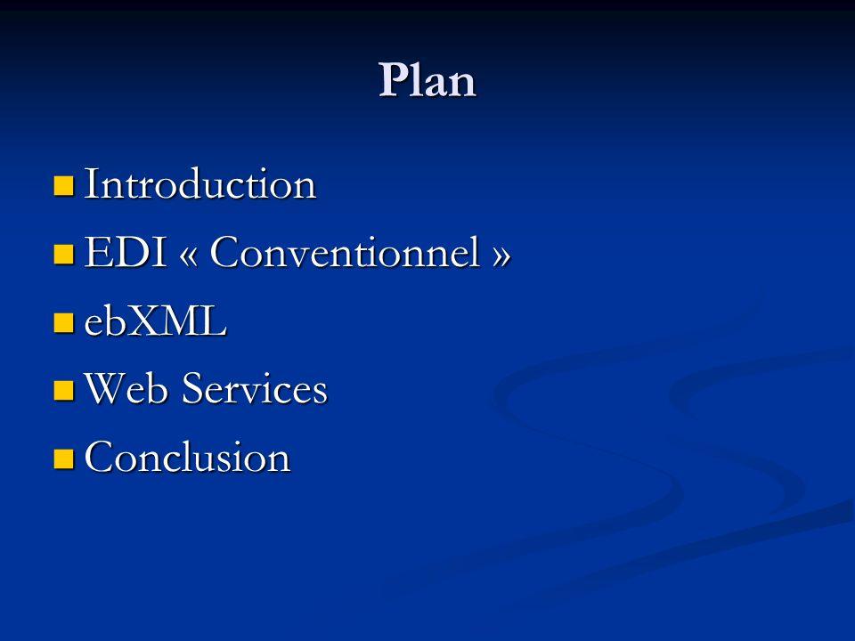 ebXML : « le XML EDI » Architecture EDI Architecture EDI Architecture EDIArchitecture ebXML Contrat papier Modélisation propriétaire Réseau à valeur ajouté X12, EDIFACT Accord déchange Description de processus daffaire Télécommunication Définition syntaxique ebXML CPPA ebXML BPSS ebXML MS Corp Components Registry/Repository
