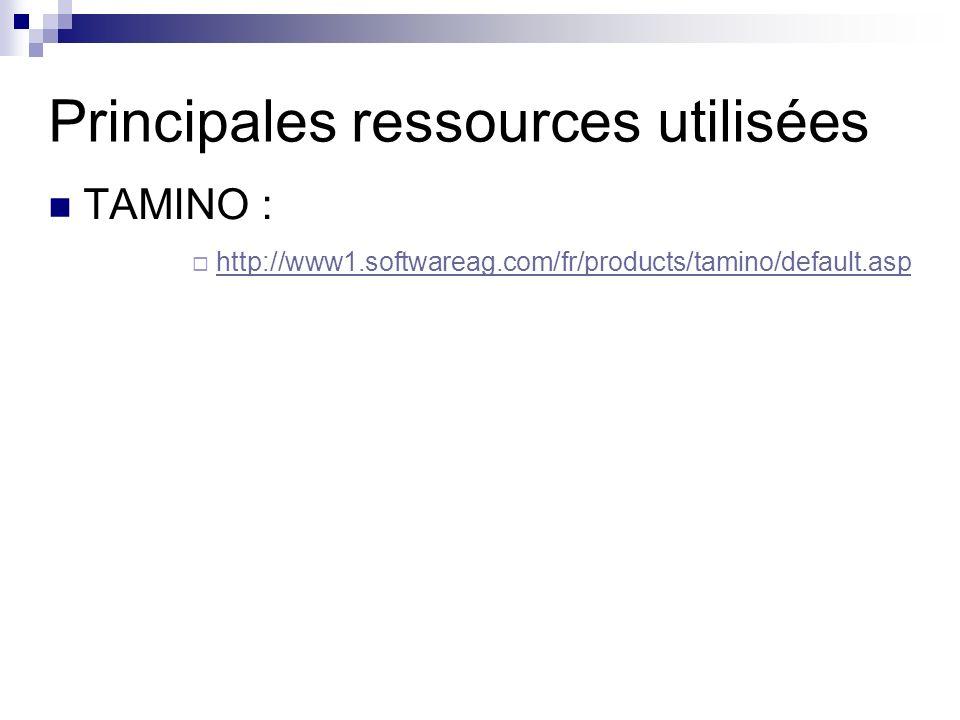 Principales ressources utilisées TAMINO : http://www1.softwareag.com/fr/products/tamino/default.asp