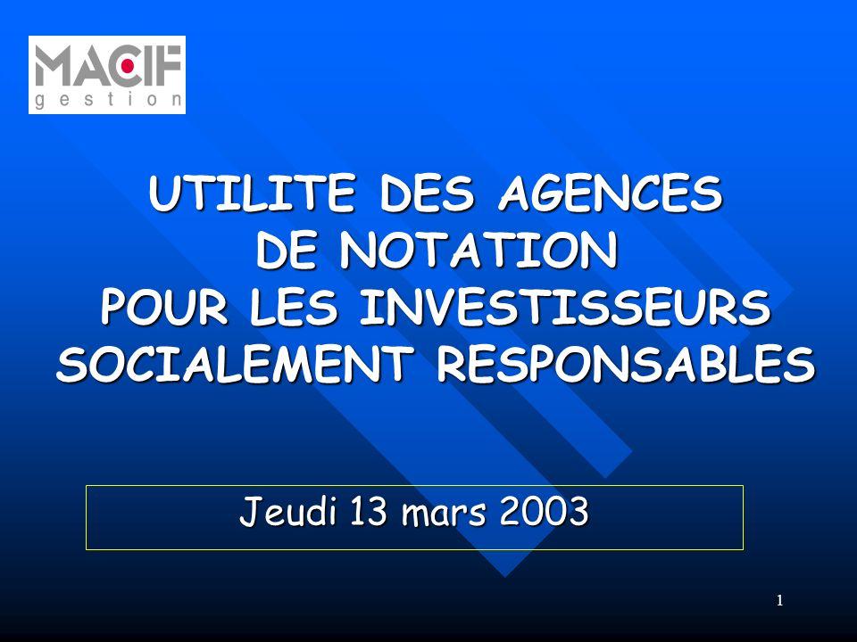 1 UTILITE DES AGENCES DE NOTATION POUR LES INVESTISSEURS SOCIALEMENT RESPONSABLES Jeudi 13 mars 2003