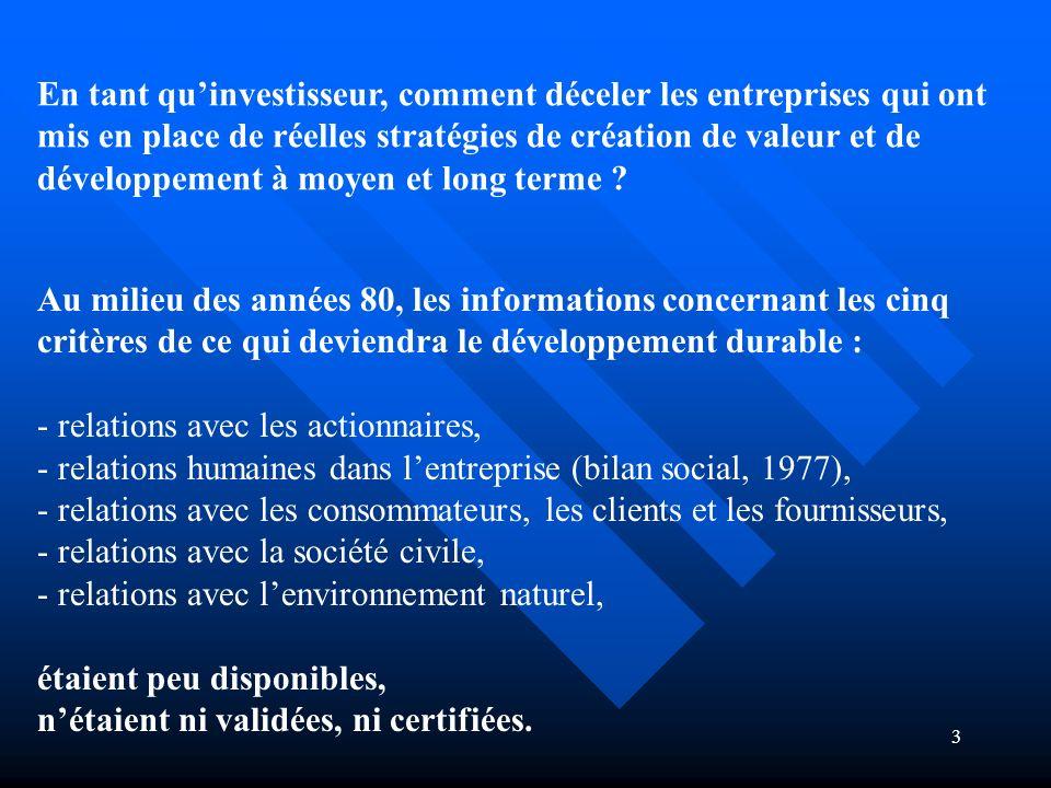 3 En tant quinvestisseur, comment déceler les entreprises qui ont mis en place de réelles stratégies de création de valeur et de développement à moyen