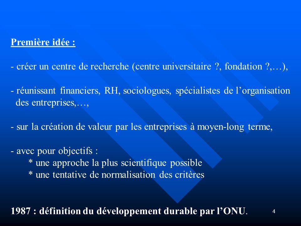 4 Première idée : - créer un centre de recherche (centre universitaire ?, fondation ?,…), - réunissant financiers, RH, sociologues, spécialistes de lo