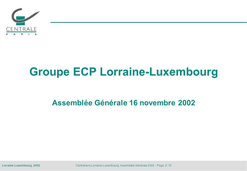 Centraliens Lorraine-Luxembourg, Assemblée Générale 2002 - Page 2/ 10Lorraine-Luxembourg, 2002 Groupe ECP Lorraine-Luxembourg Assemblée Générale 16 no