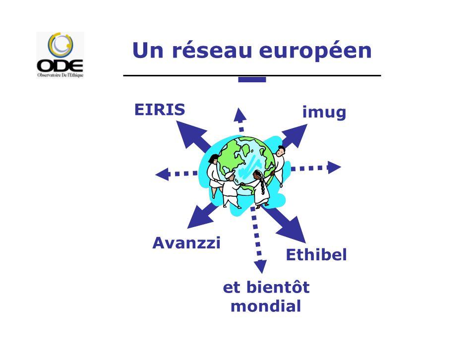 Un réseau européen EIRIS imug Ethibel Avanzzi et bientôt mondial