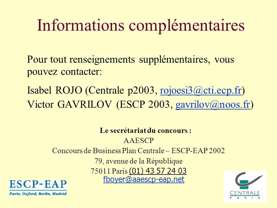 Informations complémentaires Pour tout renseignements supplémentaires, vous pouvez contacter: Isabel ROJO (Centrale p2003, rojoesi3@cti.ecp.fr)rojoesi