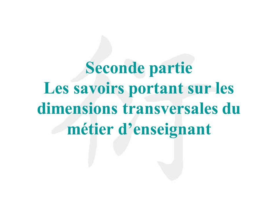 Seconde partie Les savoirs portant sur les dimensions transversales du métier denseignant