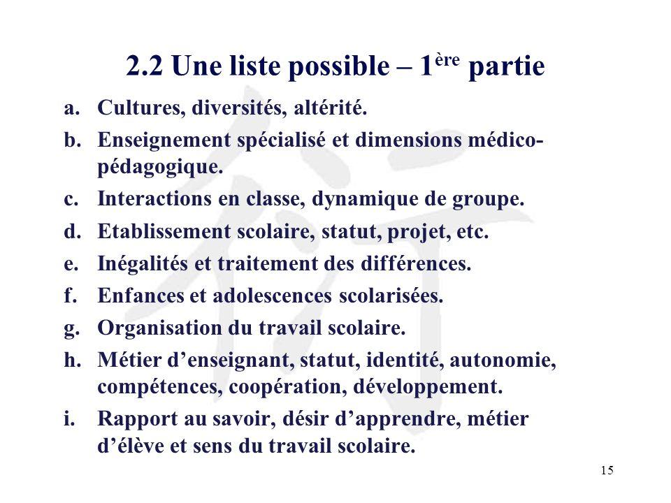 15 2.2 Une liste possible – 1 ère partie a.Cultures, diversités, altérité. b.Enseignement spécialisé et dimensions médico- pédagogique. c.Interactions