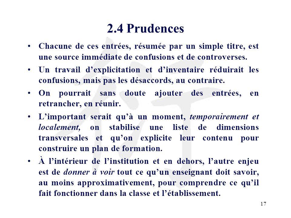 17 2.4 Prudences Chacune de ces entrées, résumée par un simple titre, est une source immédiate de confusions et de controverses. Un travail dexplicita