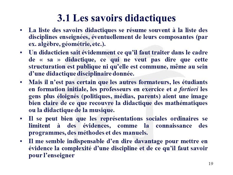 19 3.1 Les savoirs didactiques La liste des savoirs didactiques se résume souvent à la liste des disciplines enseignées, éventuellement de leurs compo