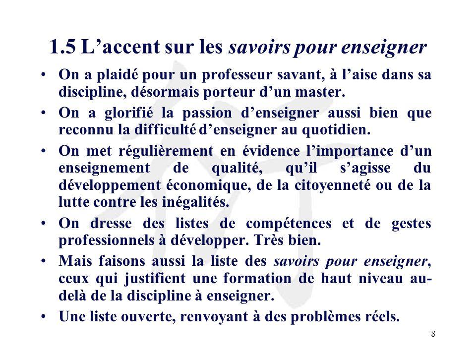 19 3.1 Les savoirs didactiques La liste des savoirs didactiques se résume souvent à la liste des disciplines enseignées, éventuellement de leurs composantes (par ex.