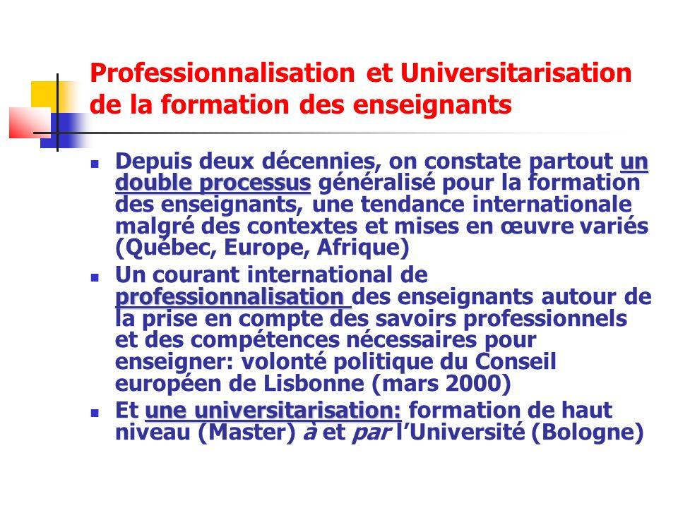 Lhéritage des IUFM: la professionnalisation de la formation En France, le processus de professionnalisation va senclencher et se développer au sein des IUFM (Instituts universitaires de formation des Maîtres) de 1991 (rapport D.