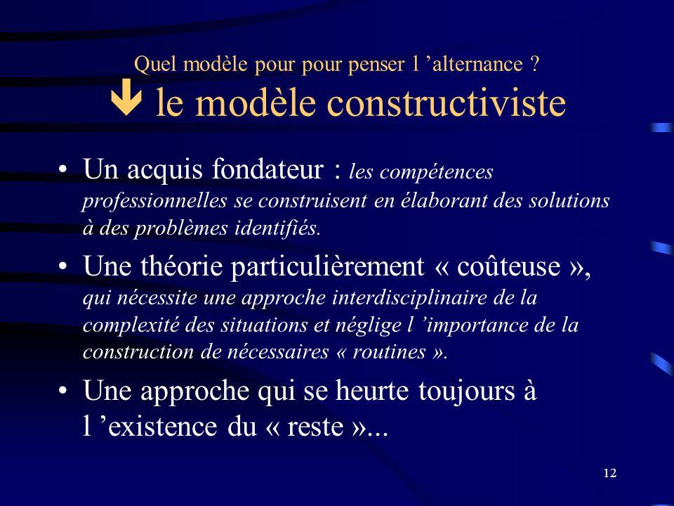 12 Quel modèle pour pour penser l alternance ? le modèle constructiviste Un acquis fondateur : les compétences professionnelles se construisent en éla