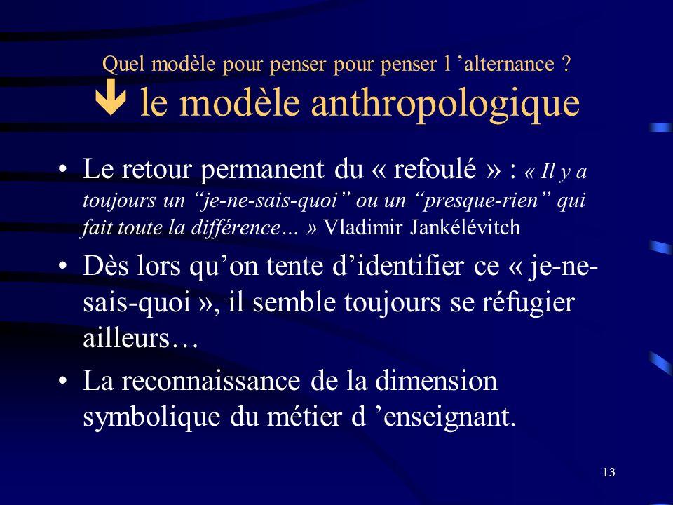 13 Quel modèle pour penser pour penser l alternance ? le modèle anthropologique Le retour permanent du « refoulé » : « Il y a toujours un je-ne-sais-q