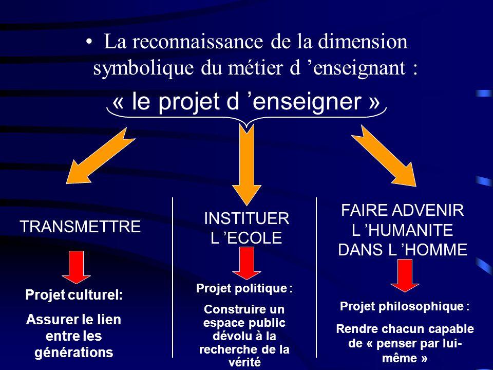 La reconnaissance de la dimension symbolique du métier d enseignant : « le projet d enseigner » TRANSMETTRE INSTITUER L ECOLE FAIRE ADVENIR L HUMANITE
