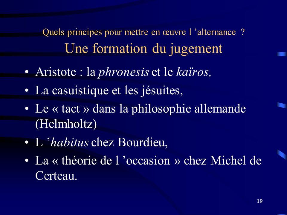 19 Quels principes pour mettre en œuvre l alternance ? Une formation du jugement Aristote : la phronesis et le kaïros, La casuistique et les jésuites,