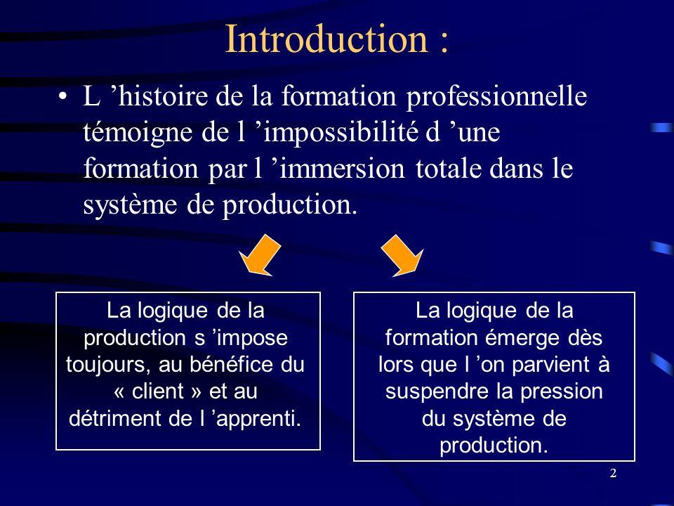 2 Introduction : L histoire de la formation professionnelle témoigne de l impossibilité d une formation par l immersion totale dans le système de prod
