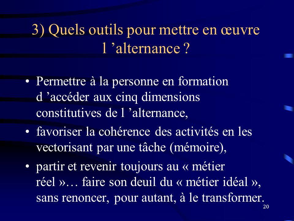 20 3) Quels outils pour mettre en œuvre l alternance ? Permettre à la personne en formation d accéder aux cinq dimensions constitutives de l alternanc