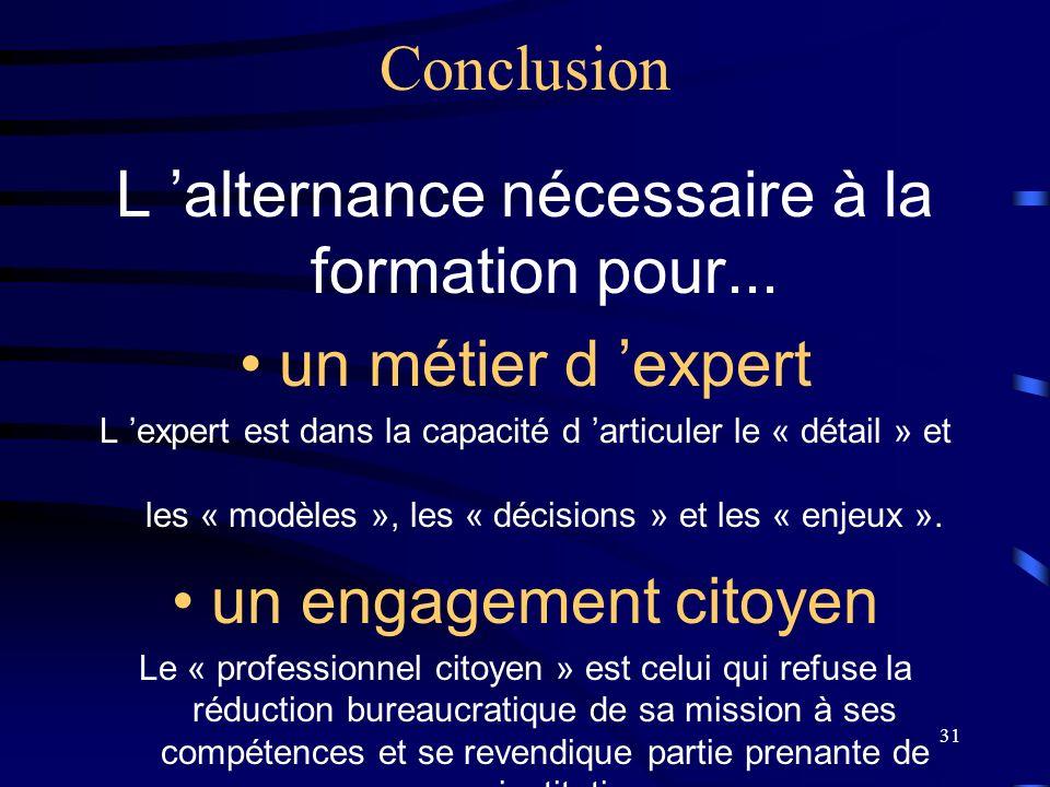31 Conclusion L alternance nécessaire à la formation pour... un métier d expert L expert est dans la capacité d articuler le « détail » et les « modèl
