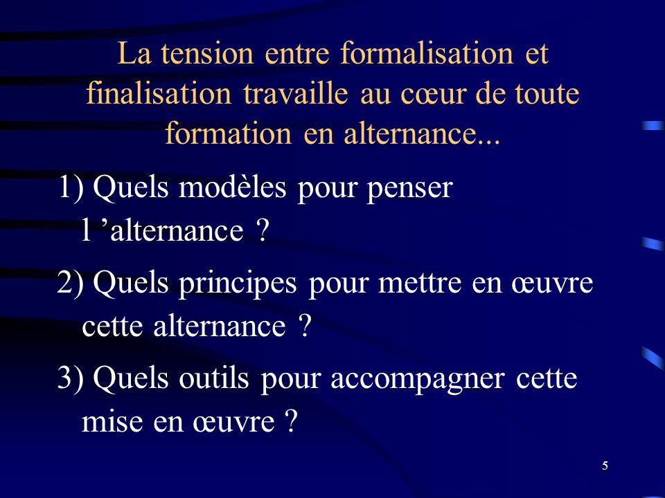 5 La tension entre formalisation et finalisation travaille au cœur de toute formation en alternance... 1) Quels modèles pour penser l alternance ? 2)