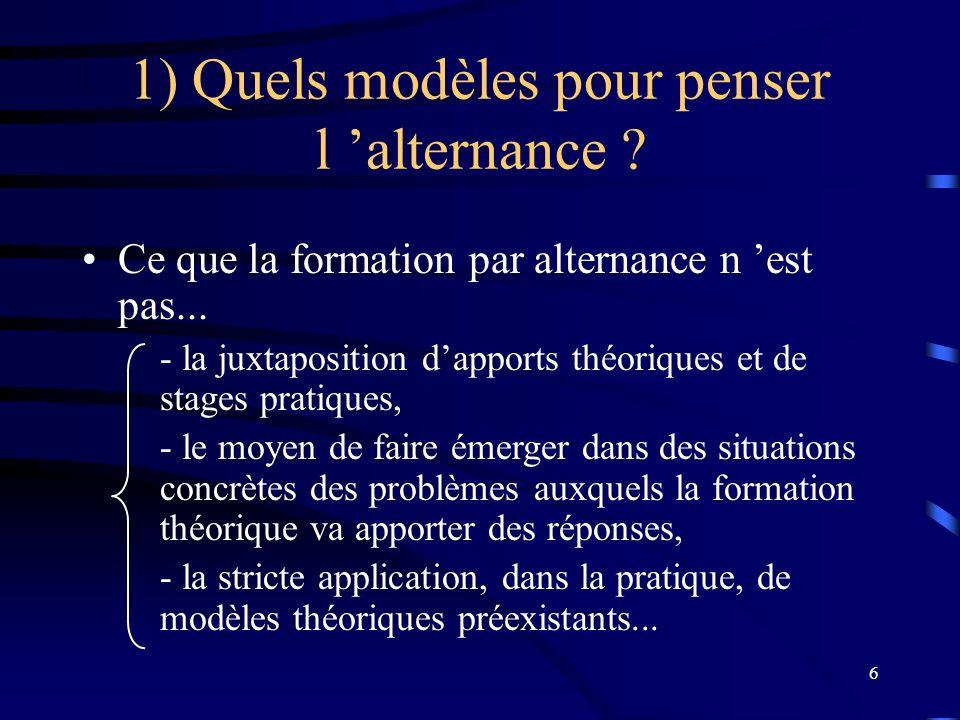 6 1) Quels modèles pour penser l alternance ? Ce que la formation par alternance n est pas... - la juxtaposition dapports théoriques et de stages prat