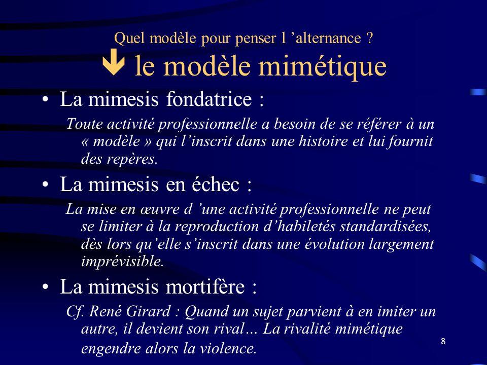 8 Quel modèle pour penser l alternance ? le modèle mimétique La mimesis fondatrice : Toute activité professionnelle a besoin de se référer à un « modè