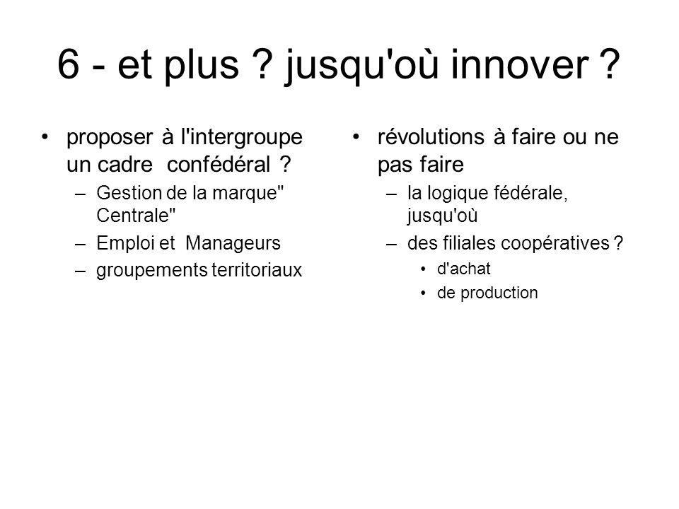 6 - et plus ? jusqu'où innover ? proposer à l'intergroupe un cadre confédéral ? –Gestion de la marque