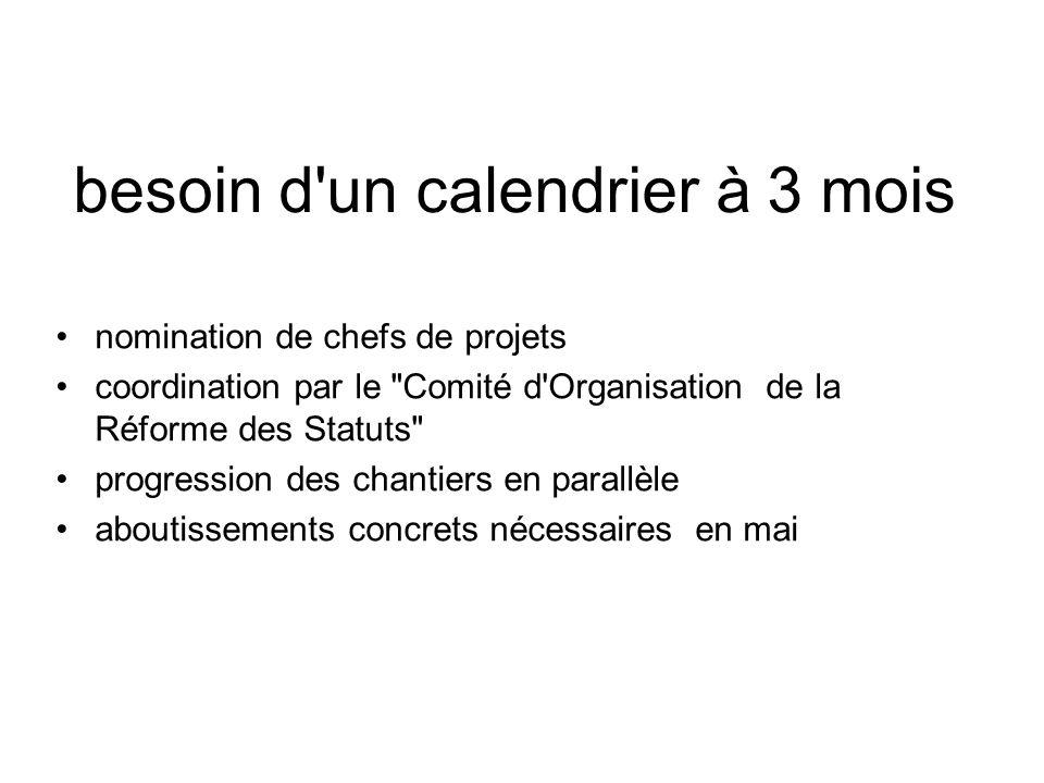besoin d'un calendrier à 3 mois nomination de chefs de projets coordination par le