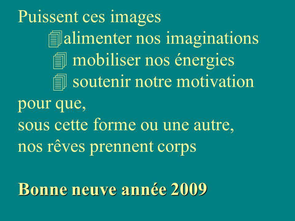Bonne neuve année 2009 Puissent ces images alimenter nos imaginations mobiliser nos énergies soutenir notre motivation pour que, sous cette forme ou une autre, nos rêves prennent corps Bonne neuve année 2009