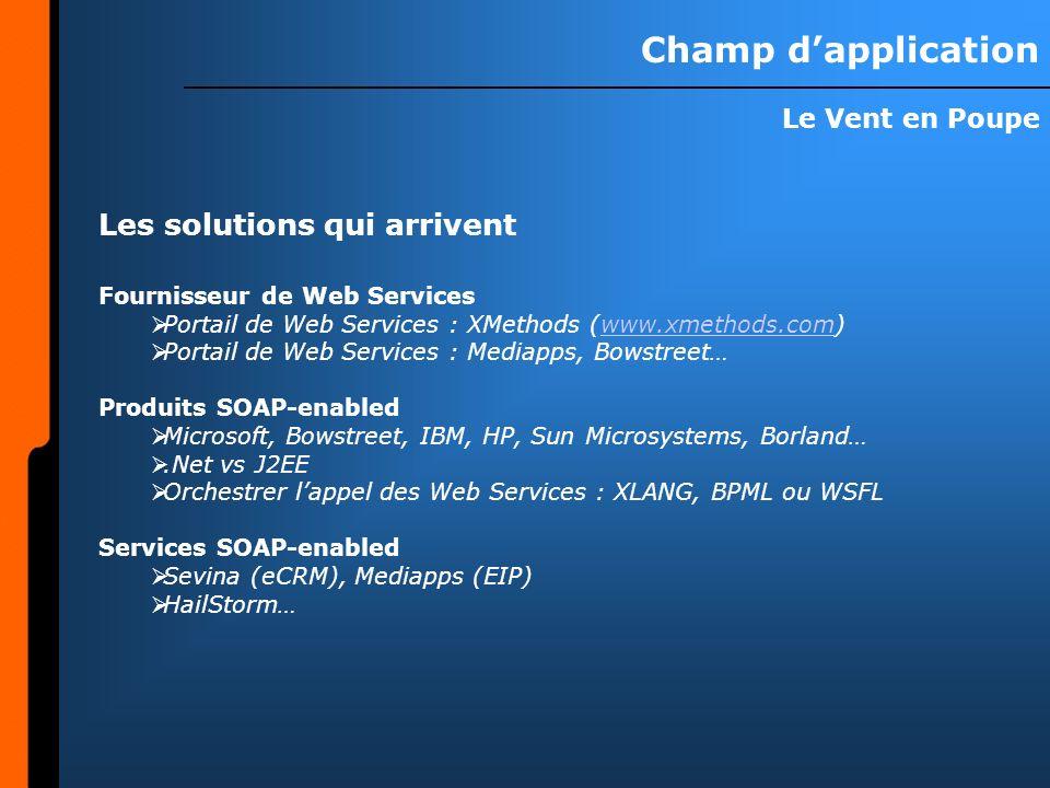 Champ dapplication Le Vent en Poupe Les solutions qui arrivent Fournisseur de Web Services Portail de Web Services : XMethods (www.xmethods.com)www.xmethods.com Portail de Web Services : Mediapps, Bowstreet… Produits SOAP-enabled Microsoft, Bowstreet, IBM, HP, Sun Microsystems, Borland….Net vs J2EE Orchestrer lappel des Web Services : XLANG, BPML ou WSFL Services SOAP-enabled Sevina (eCRM), Mediapps (EIP) HailStorm…