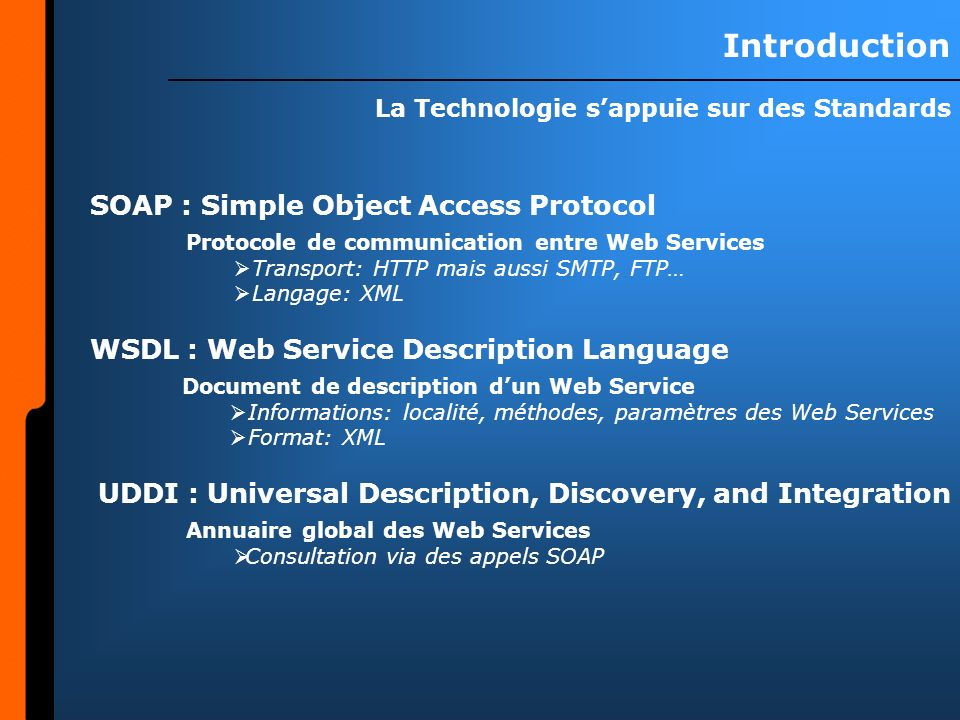 Introduction La Technologie sappuie sur des Standards Protocole de communication entre Web Services Transport: HTTP mais aussi SMTP, FTP… Langage: XML