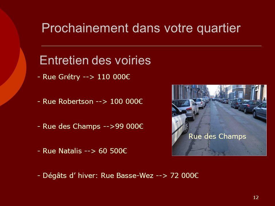 12 Entretien des voiries - Rue Grétry --> 110 000 - Rue Robertson --> 100 000 - Rue des Champs -->99 000 - Rue Natalis --> 60 500 - Dégâts d hiver: Ru