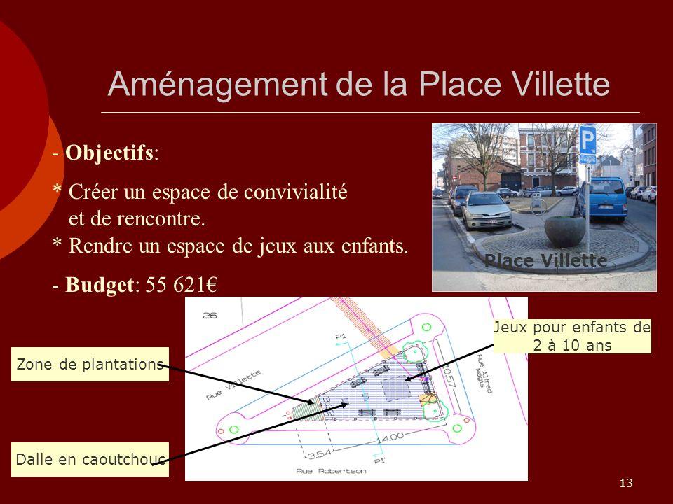 13 Aménagement de la Place Villette - Objectifs: * Créer un espace de convivialité et de rencontre. * Rendre un espace de jeux aux enfants. - Budget: