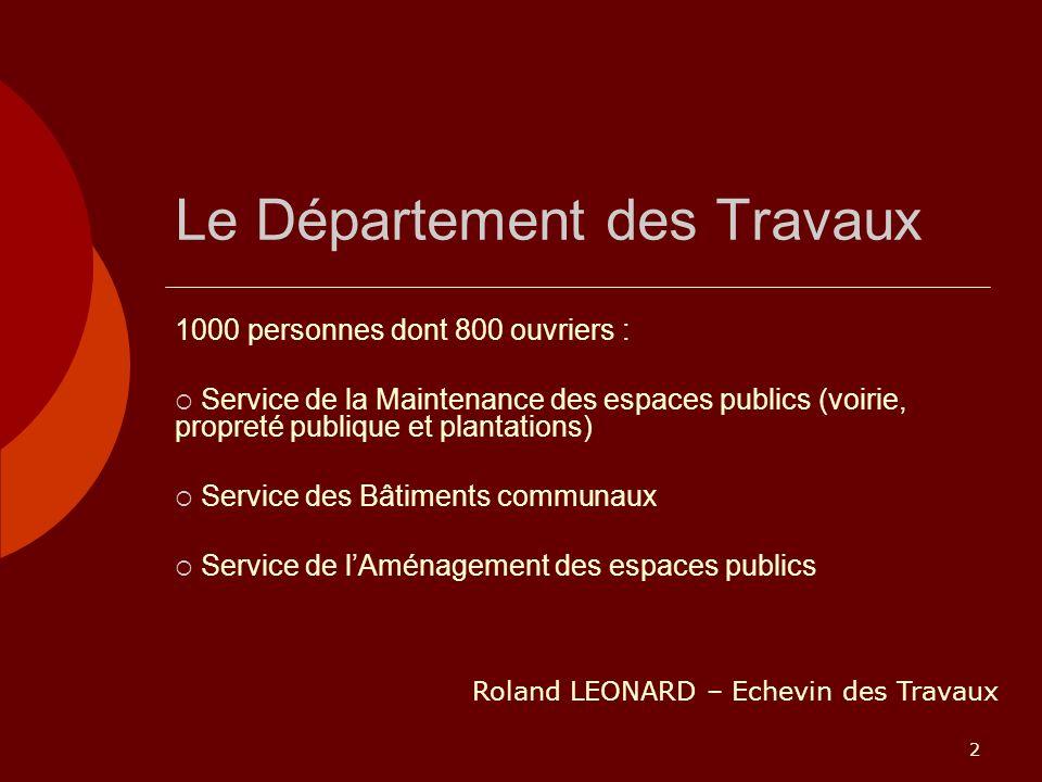 2 Le Département des Travaux 1000 personnes dont 800 ouvriers : Service de la Maintenance des espaces publics (voirie, propreté publique et plantation