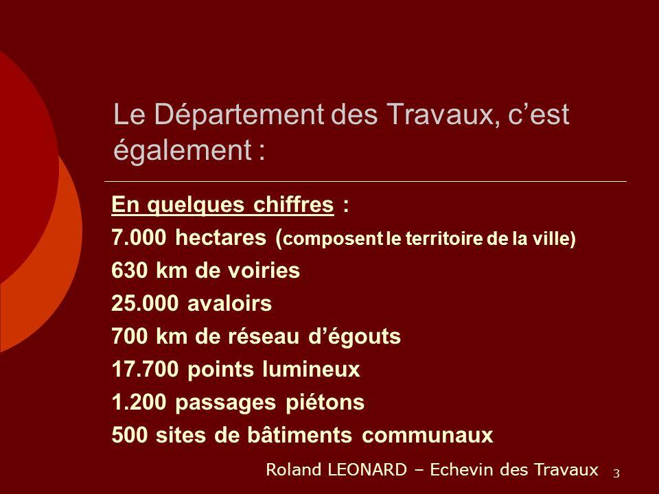 3 Le Département des Travaux, cest également : En quelques chiffres : 7.000 hectares ( composent le territoire de la ville) 630 km de voiries 25.000 a
