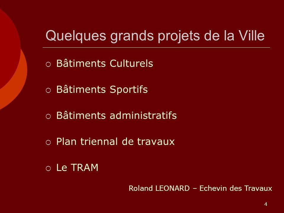4 Quelques grands projets de la Ville Bâtiments Culturels Bâtiments Sportifs Bâtiments administratifs Plan triennal de travaux Le TRAM Roland LEONARD