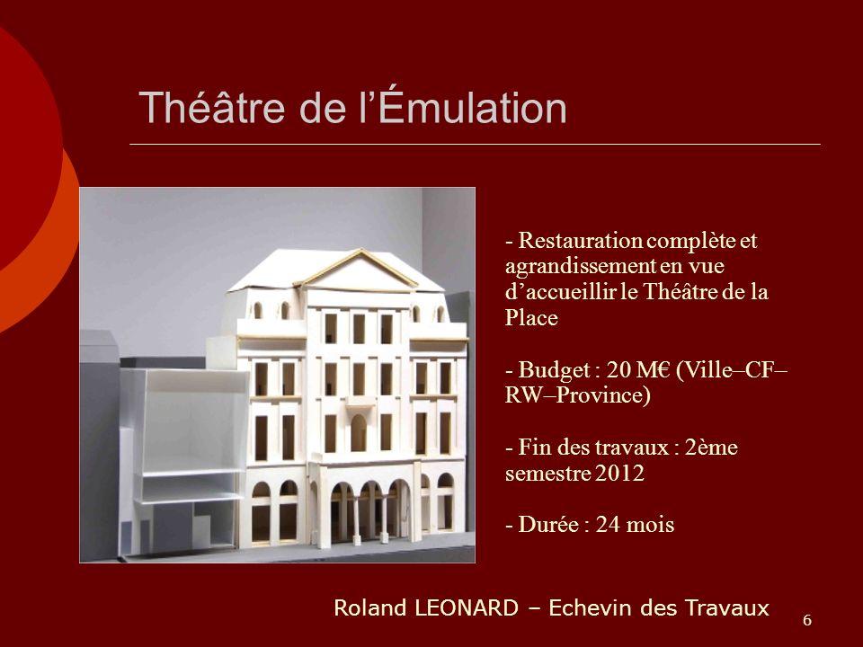 6 Théâtre de lÉmulation - Restauration complète et agrandissement en vue daccueillir le Théâtre de la Place - Budget : 20 M (Ville–CF– RW–Province) -