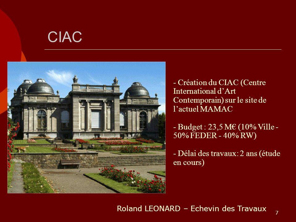 7 CIAC - Création du CIAC (Centre International dArt Contemporain) sur le site de lactuel MAMAC - Budget : 23,5 M (10% Ville - 50% FEDER - 40% RW) - D