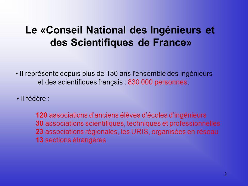 2 Le «Conseil National des Ingénieurs et des Scientifiques de France» Il représente depuis plus de 150 ans l ensemble des ingénieurs et des scientifiques français : 830 000 personnes.