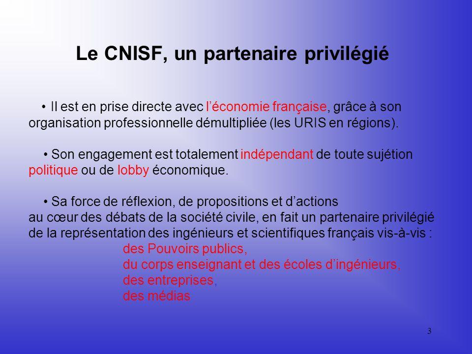 3 Le CNISF, un partenaire privilégié Il est en prise directe avec léconomie française, grâce à son organisation professionnelle démultipliée (les URIS en régions).
