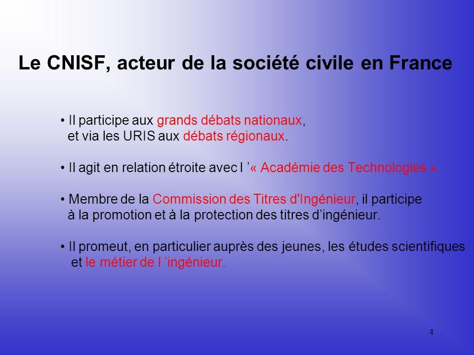 4 Le CNISF, acteur de la société civile en France Il participe aux grands débats nationaux, et via les URIS aux débats régionaux.