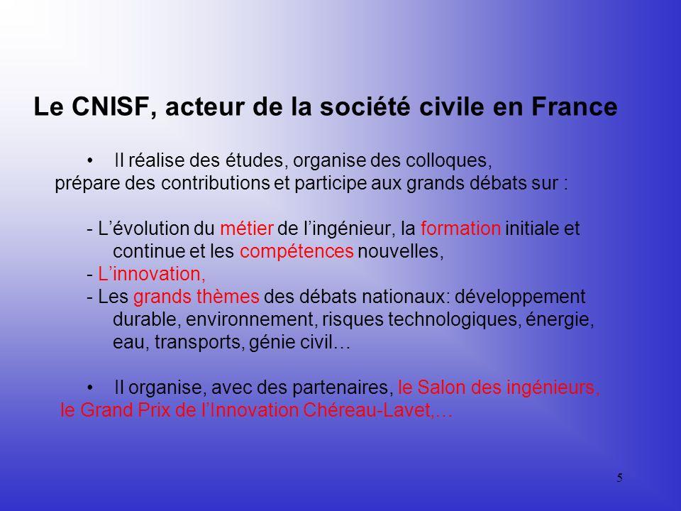 4 Le CNISF, acteur de la société civile en France Il participe aux grands débats nationaux, et via les URIS aux débats régionaux. Il agit en relation