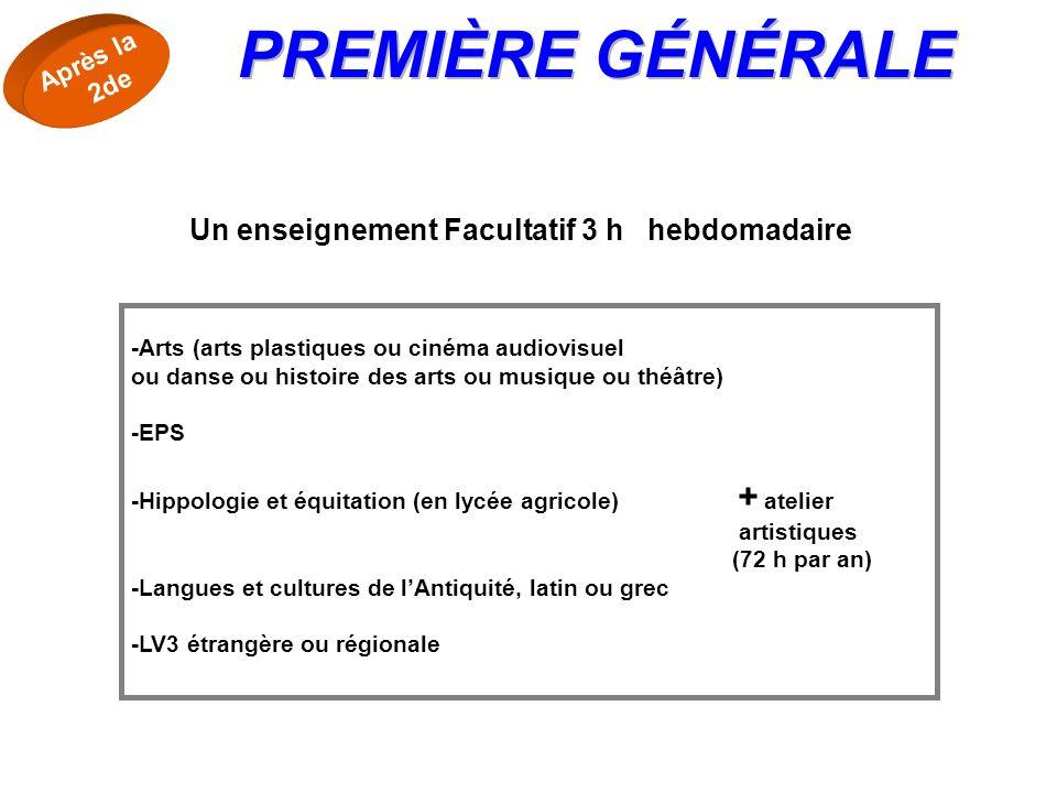-Arts (arts plastiques ou cinéma audiovisuel ou danse ou histoire des arts ou musique ou théâtre) -EPS -Hippologie et équitation (en lycée agricole) +