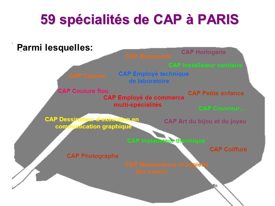 CAP Dessinateur dexécution en communication graphique CAP Photographe CAP Cuisine CAP Installateur thermique CAP Employé de commerce multi-spécialités