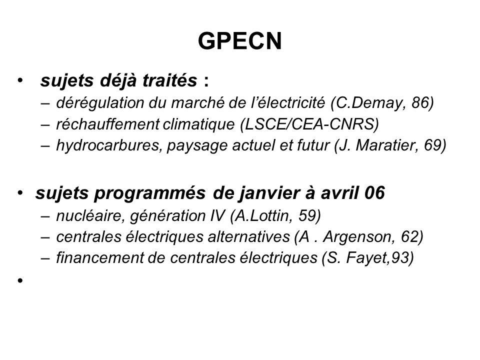 Création du GPECN en juin 2005 instance dinformation sur les problèmes actuels et futurs doffre et de demande dénergie une réunion mensuelle selon 5 thèmes alternés énergie-économie, énergie- environnement, hydrocarbures, nucléaire, alternatives