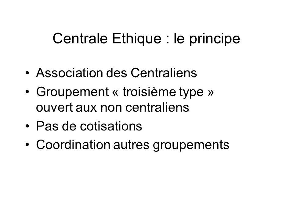 Centrale Ethique : le principe Association des Centraliens Groupement « troisième type » ouvert aux non centraliens Pas de cotisations Coordination autres groupements