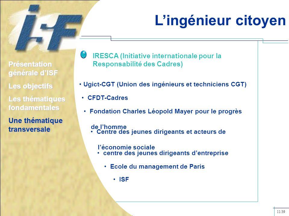 IRESCA (Initiative internationale pour la Responsabilité des Cadres) Ugict-CGT (Union des ingénieurs et techniciens CGT) CFDT-Cadres Fondation Charles