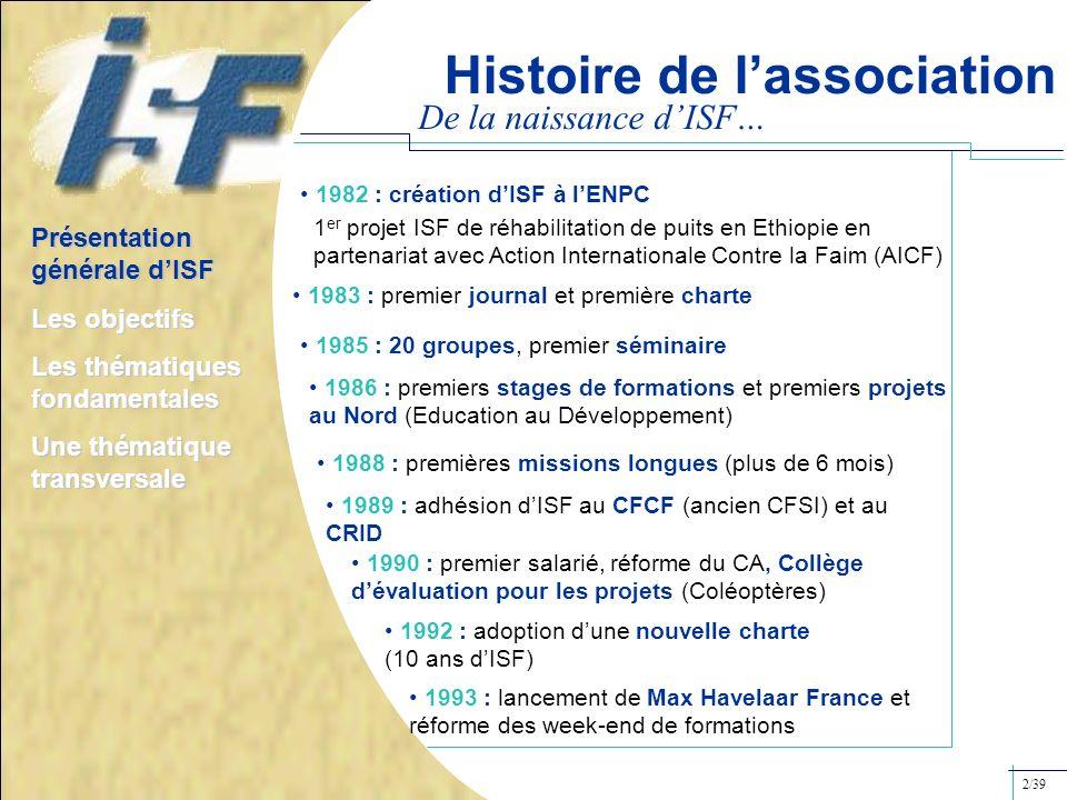 Histoire de lassociation De la naissance dISF… 1982 : création dISF à lENPC 1 er projet ISF de réhabilitation de puits en Ethiopie en partenariat avec